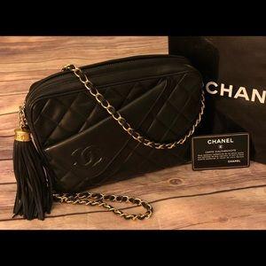 Vintage Chanel Black W, Gold small shoulder Bag